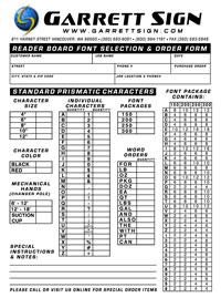 Reader Board Order Form