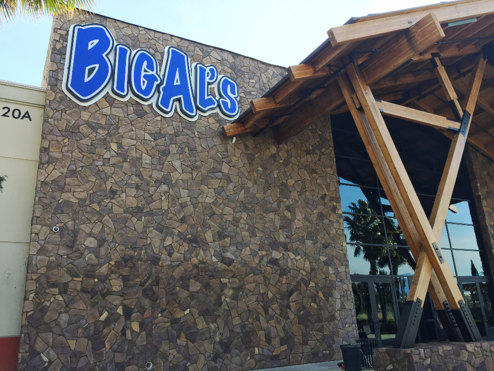 Illuminated sign faced wall sign installed at Big Al's in Ontario California. Signs made by Garrett Sign Company of Vancouver Washington.